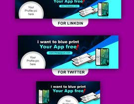 """#17 untuk A banner for my profiles that says """"I want to blueprint your app for free!"""". Make it interesting and clean. The final files must be sized for Facebook, LinkedIn and Twitter. Also include the company web address: theappguys.come oleh Taposs"""