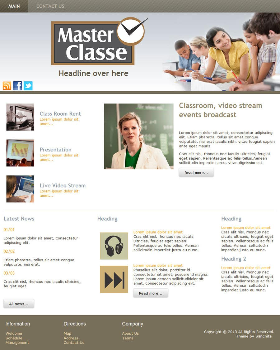 #1 for Wordpress Theme Design for MasterClasse by SanchitaG