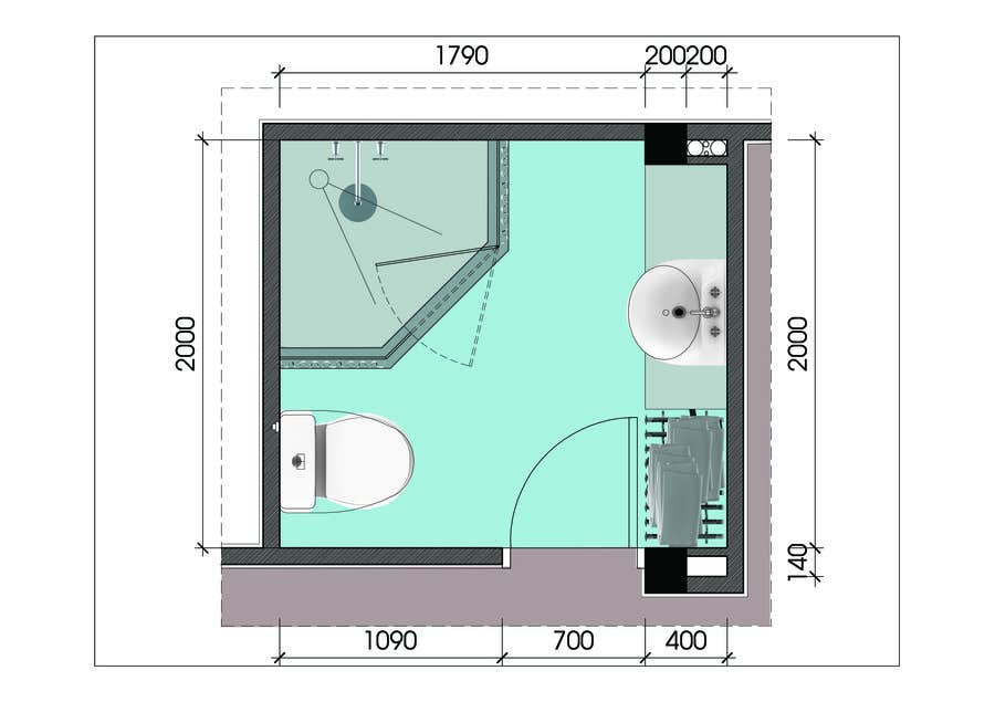 Design Amp Render 5 Square Meter Bathroom Freelancer