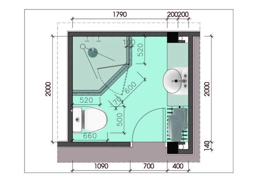 Proposition n°                                        10                                      du concours                                         Design & Render 5 square meter bathroom.
