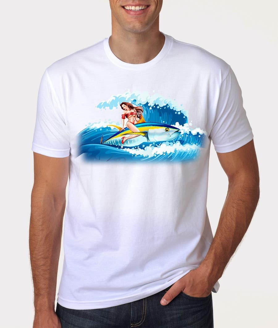Contest Entry #5 for Design a retro 1950's pinup girl style spearfishing shirt