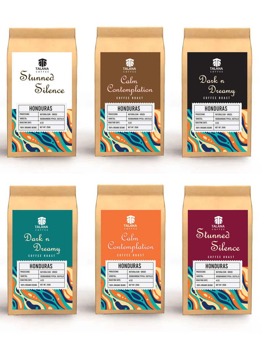 Kilpailutyö #                                        51                                      kilpailussa                                         Talana Coffee package label design
