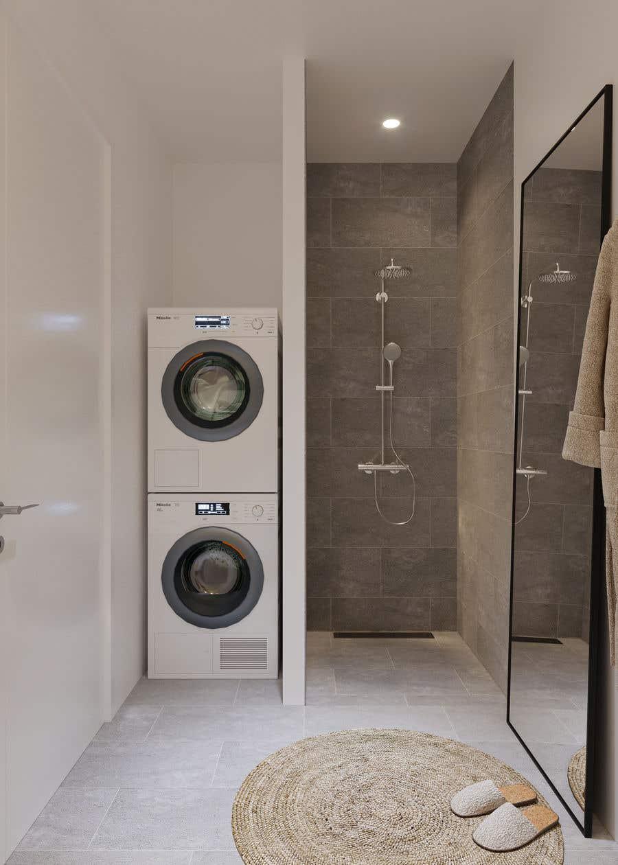 Proposition n°                                        46                                      du concours                                         3D rendering kitchen, bathroom.