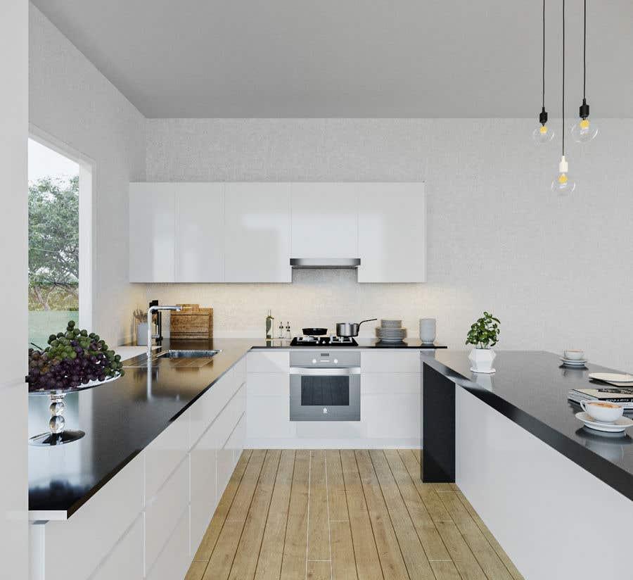 Proposition n°                                        10                                      du concours                                         3D rendering kitchen, bathroom.