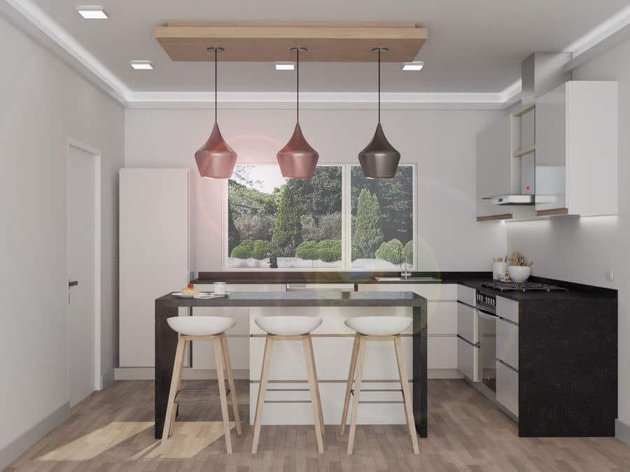 Proposition n°                                        52                                      du concours                                         3D rendering kitchen, bathroom.