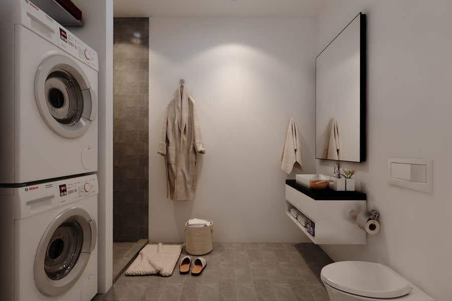 Proposition n°                                        29                                      du concours                                         3D rendering kitchen, bathroom.