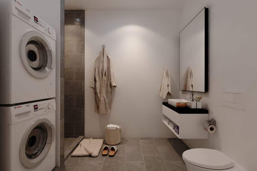 Proposition n°                                        51                                      du concours                                         3D rendering kitchen, bathroom.