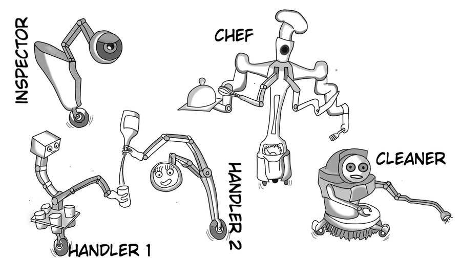 Penyertaan Peraduan #                                        52                                      untuk                                         Draw us 5 goofy robots