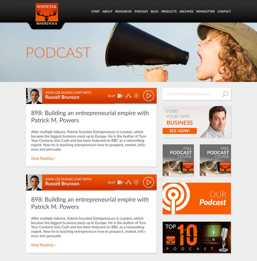 Konkurrenceindlæg #                                        9                                      for                                         Convert a Template to a Website for Whitetail Rendezvous, a podcast website