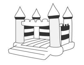 #8 para Design a gray scale flat icon illustration of a bouncy castle. por zzzabc