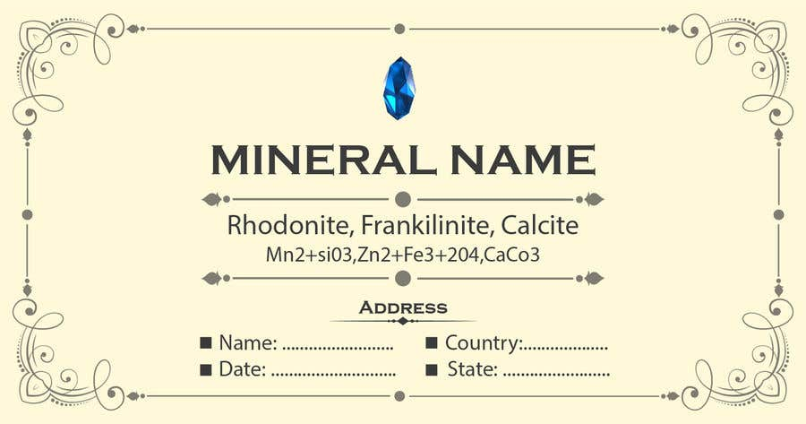Bài tham dự cuộc thi #                                        84                                      cho                                         I need a simple template for a mineral label which is like a business card like card for identifying minerals like a name-tag