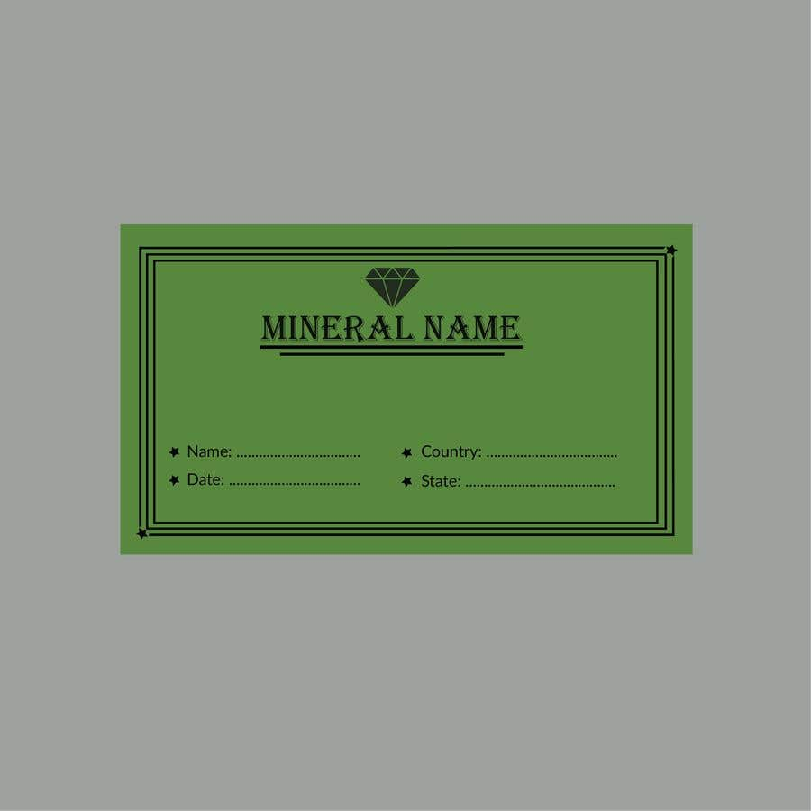Bài tham dự cuộc thi #                                        103                                      cho                                         I need a simple template for a mineral label which is like a business card like card for identifying minerals like a name-tag