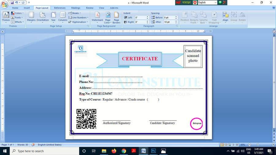 Konkurrenceindlæg #                                        7                                      for                                         Design 2 Certificates & 1 Marksheet format (for both Digital Certification & Hard Copy)