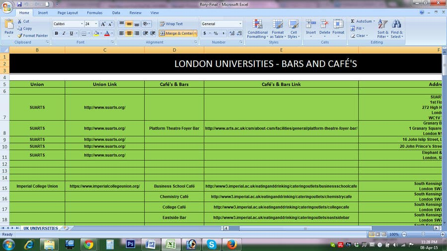 Proposition n°                                        5                                      du concours                                         Fill in a Spreadsheet with Data creating a list of businesses