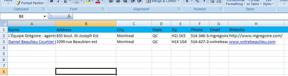 Proposition n°                                        2                                      du concours                                         Fill in a Spreadsheet with Data creating a list of businesses