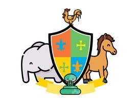 #7 para Coat of Arms logo using elephant on the left, horse on the right.  a chicken in the middle, and a cute looking snake somewhere (part of the 4 squares) or at bottom? This logo is for a kids brand.  Pastel Water color is preferable. por Hydra38