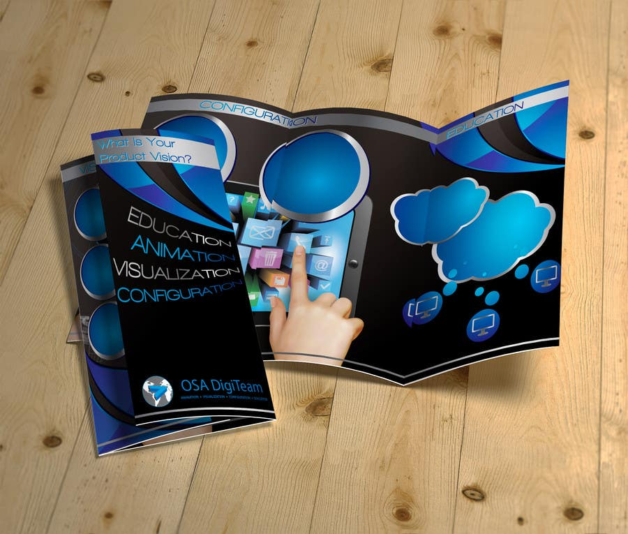 Konkurrenceindlæg #                                        7                                      for                                         Urgent-style a 3-fold brochure for services (themes of 3D, animation, apps)