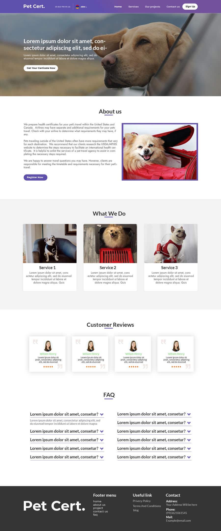 Kilpailutyö #                                        16                                      kilpailussa                                         Create a website mockup for a business that offers pet health certificates