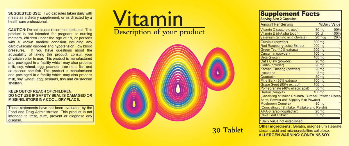 Penyertaan Peraduan #36 untuk Creating Vitamin Bottle Labels - Will pick 10 Winners