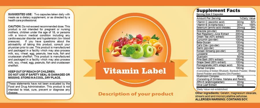 Penyertaan Peraduan #59 untuk Creating Vitamin Bottle Labels - Will pick 10 Winners
