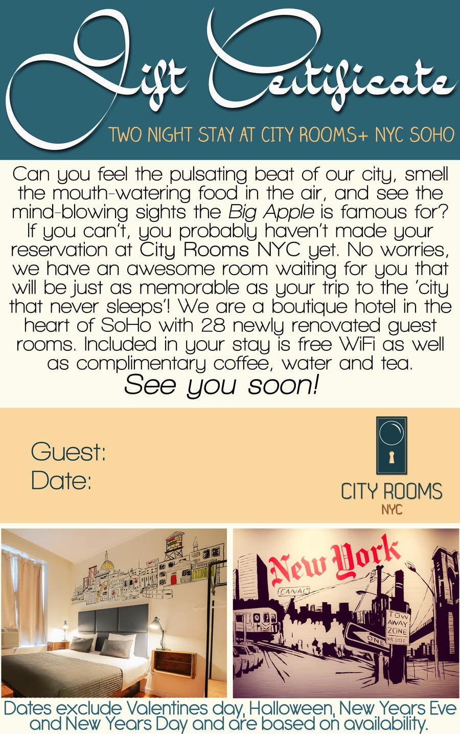 Contest Entry #                                        11                                      for                                         Design a Gift certificate fot a Hotel stay for 2 nights