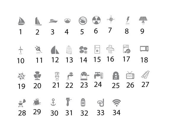 Proposition n°                                        3                                      du concours                                         Pictograms for a Boat Booking Website
