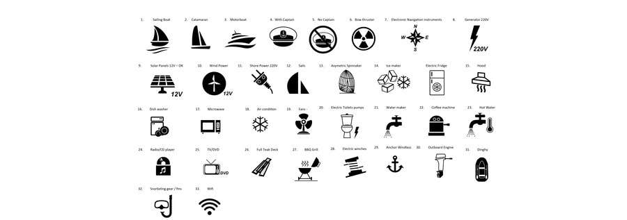 Proposition n°                                        1                                      du concours                                         Pictograms for a Boat Booking Website