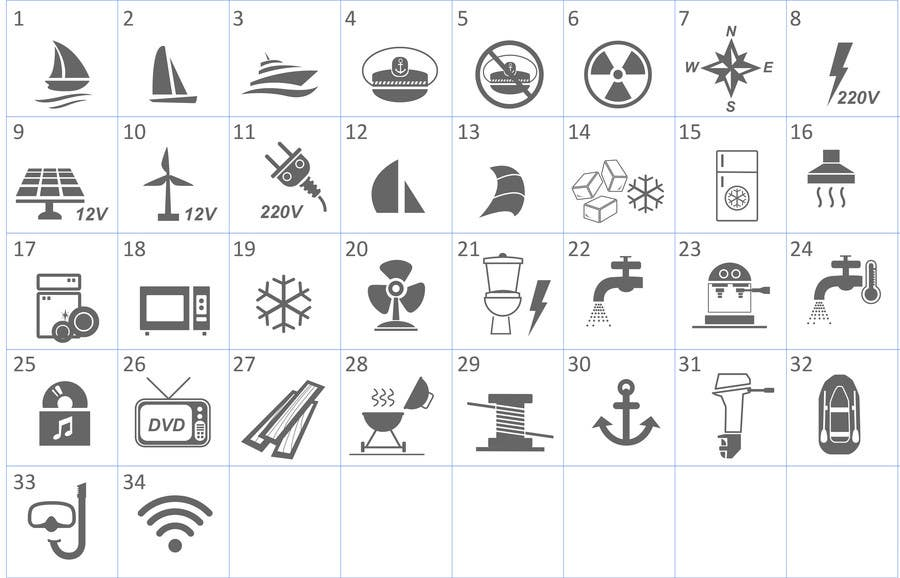 Proposition n°                                        12                                      du concours                                         Pictograms for a Boat Booking Website
