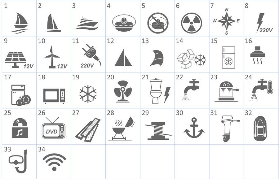 Proposition n°                                        14                                      du concours                                         Pictograms for a Boat Booking Website