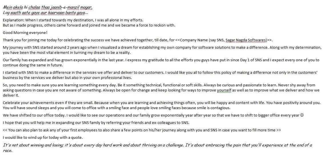 Kilpailutyö #14 kilpailussa Write motivational speech for my employees