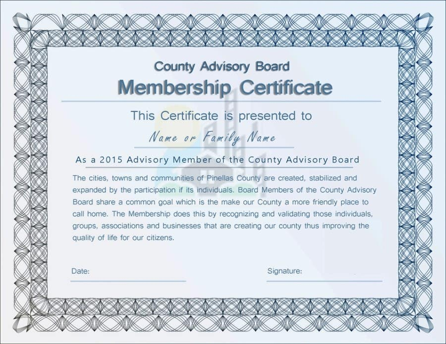 Entry 17 By Tanzeelhussain For Design A Membership Certificate