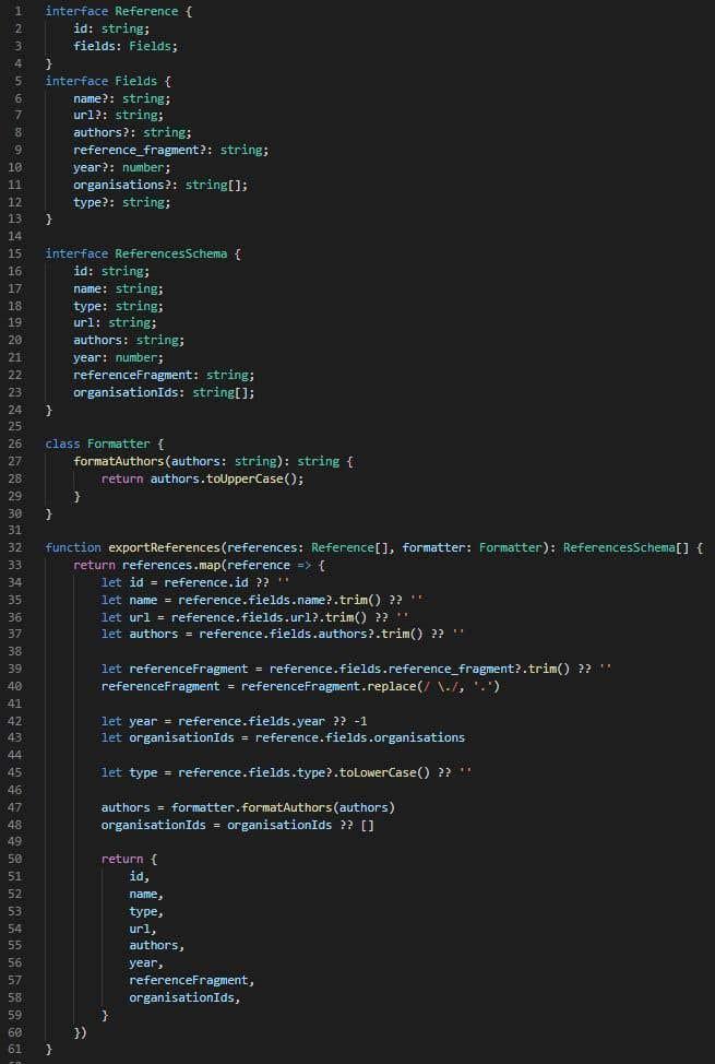 Inscrição nº                                         8                                      do Concurso para                                         Translate function to TypeScript