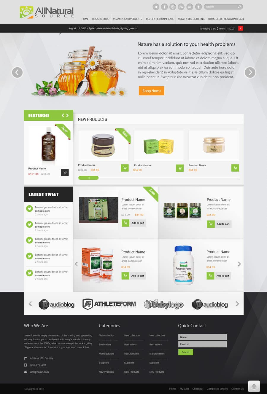 Contest Entry #                                        22                                      for                                         Design a Website Mockup for Natural Products E-Commerce Site