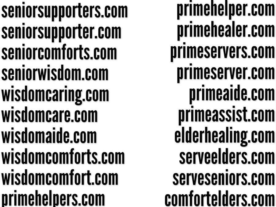 Inscrição nº 191 do Concurso para Please suggest Business name/Domain for senior care  agency
