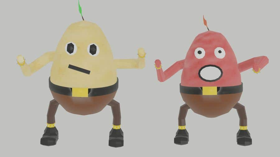 Kilpailutyö #                                        16                                      kilpailussa                                         Two 2D potatoes with faces for use in a mobile UNITY game. Export through BLENDER.