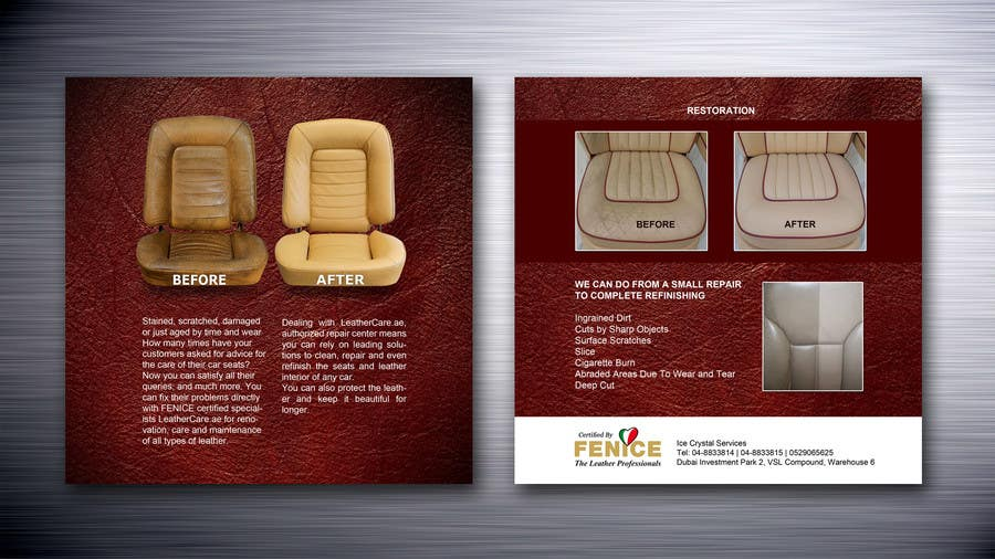 Bài tham dự cuộc thi #21 cho Design a Flyer for Car Interior Leather Restoration and Fabric Cleaning