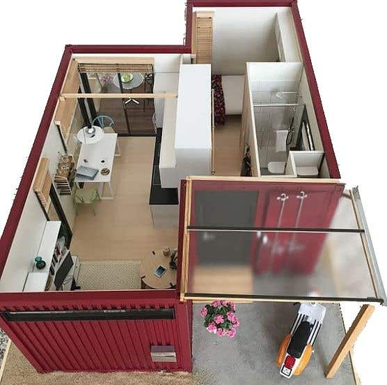 Proposition n°                                        7                                      du concours                                         Design a Studio Flat made out of a Shipping Container