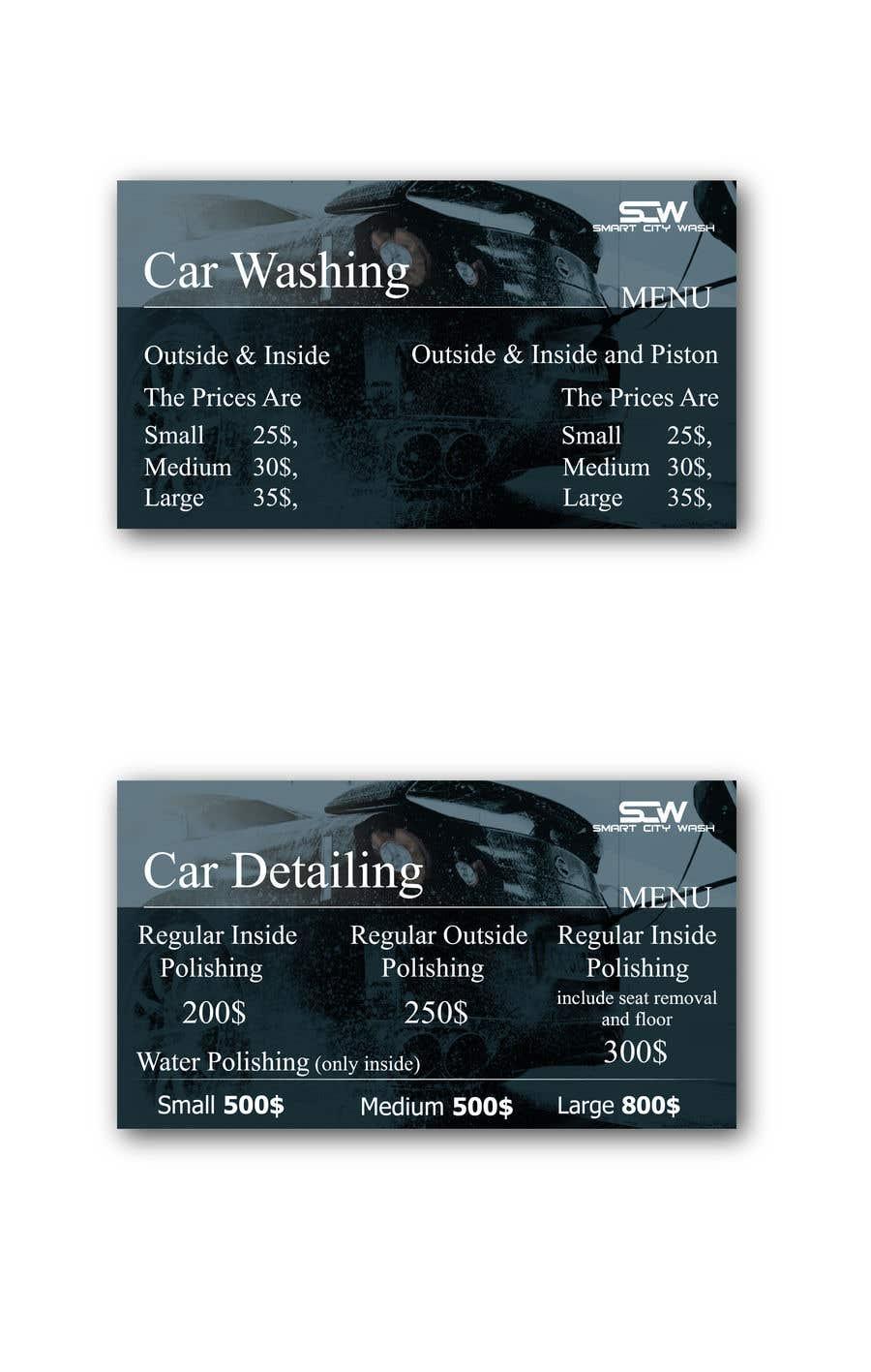 Penyertaan Peraduan #                                        11                                      untuk                                         Price Board and IG Post Design for Car Wash Shop