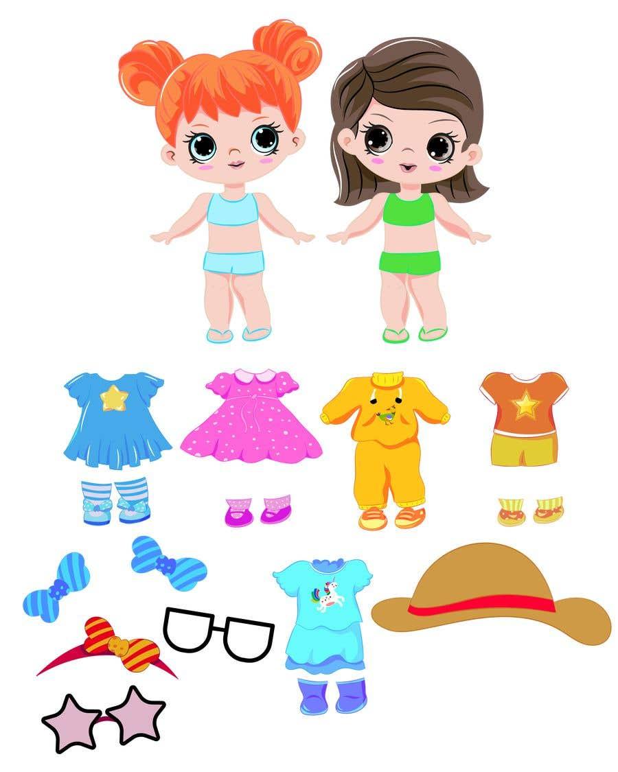 Penyertaan Peraduan #                                        44                                      untuk                                         Illustration of cute little girls with outfit