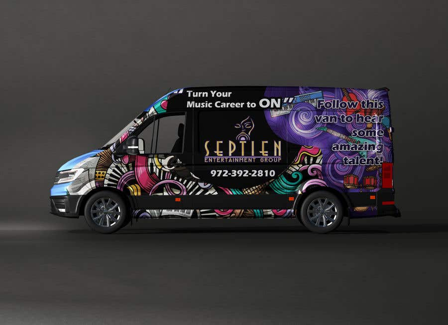 Bài tham dự cuộc thi #                                        81                                      cho                                         Van wrap design  for an entertainment company