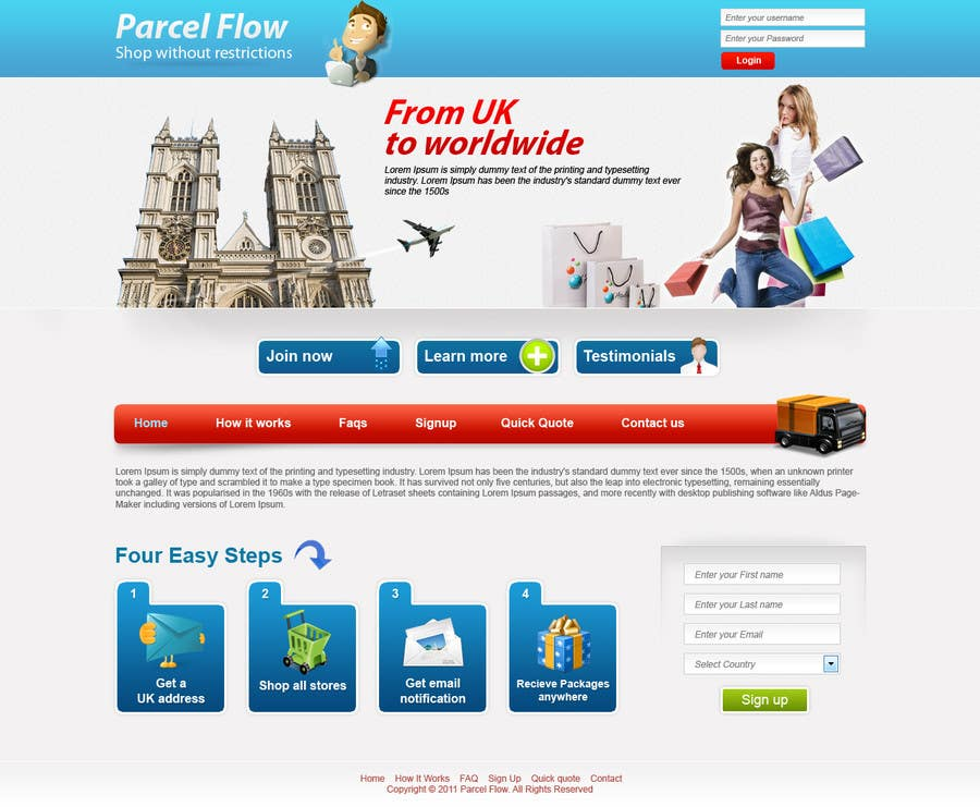 Proposition n°6 du concours Website Design is needed for a parcel forwarding business in the uk