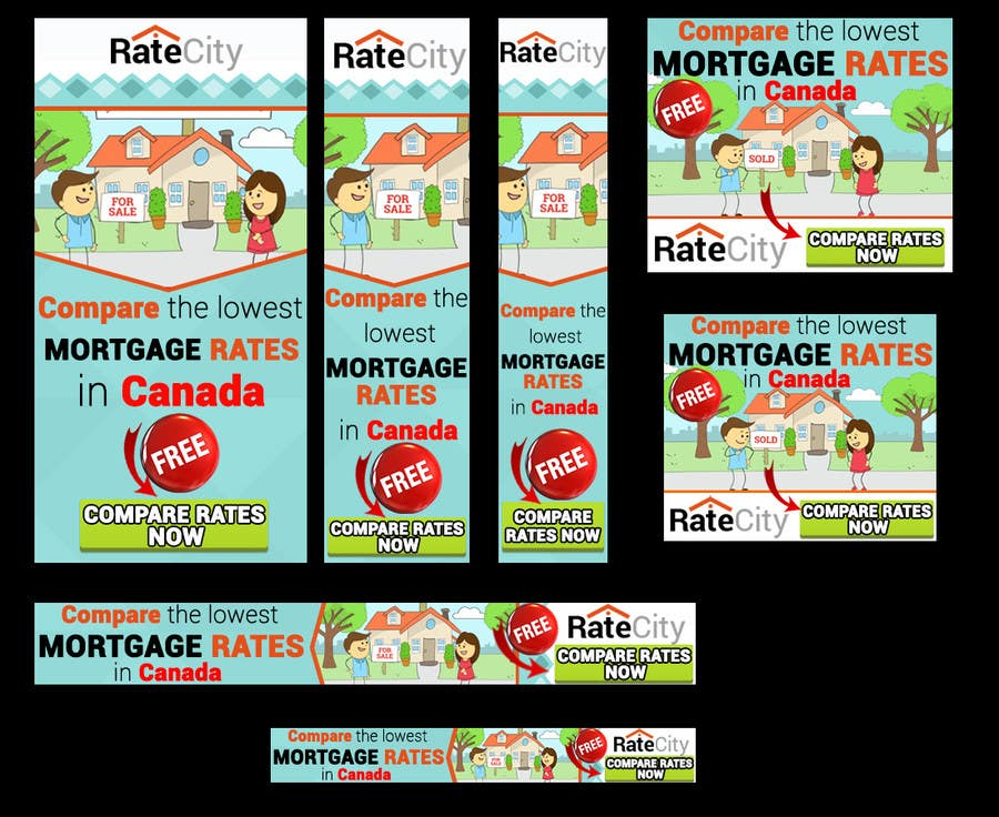 Konkurrenceindlæg #17 for Design a complete set of Banners ads for a Mortgage comparison website