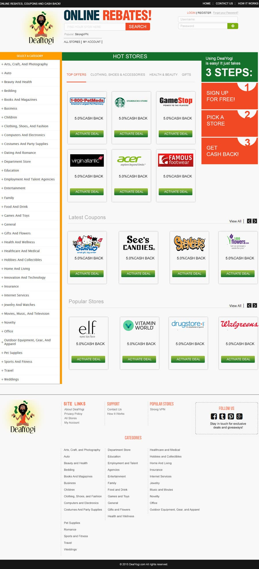 Bài tham dự cuộc thi #19 cho Design a Website Mockup for Main Page of Deals Site