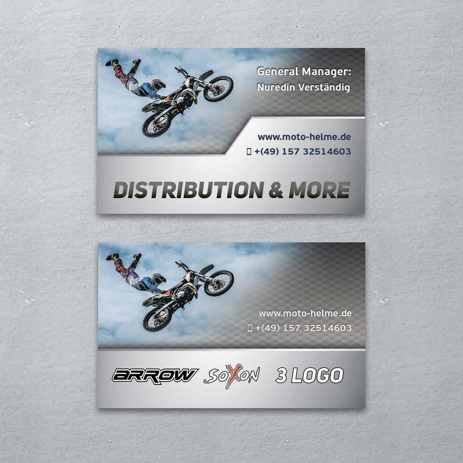 Konkurrenceindlæg #                                        2                                      for                                         DESIGN Of a Business Card for an Motorcycle helmet distribution company