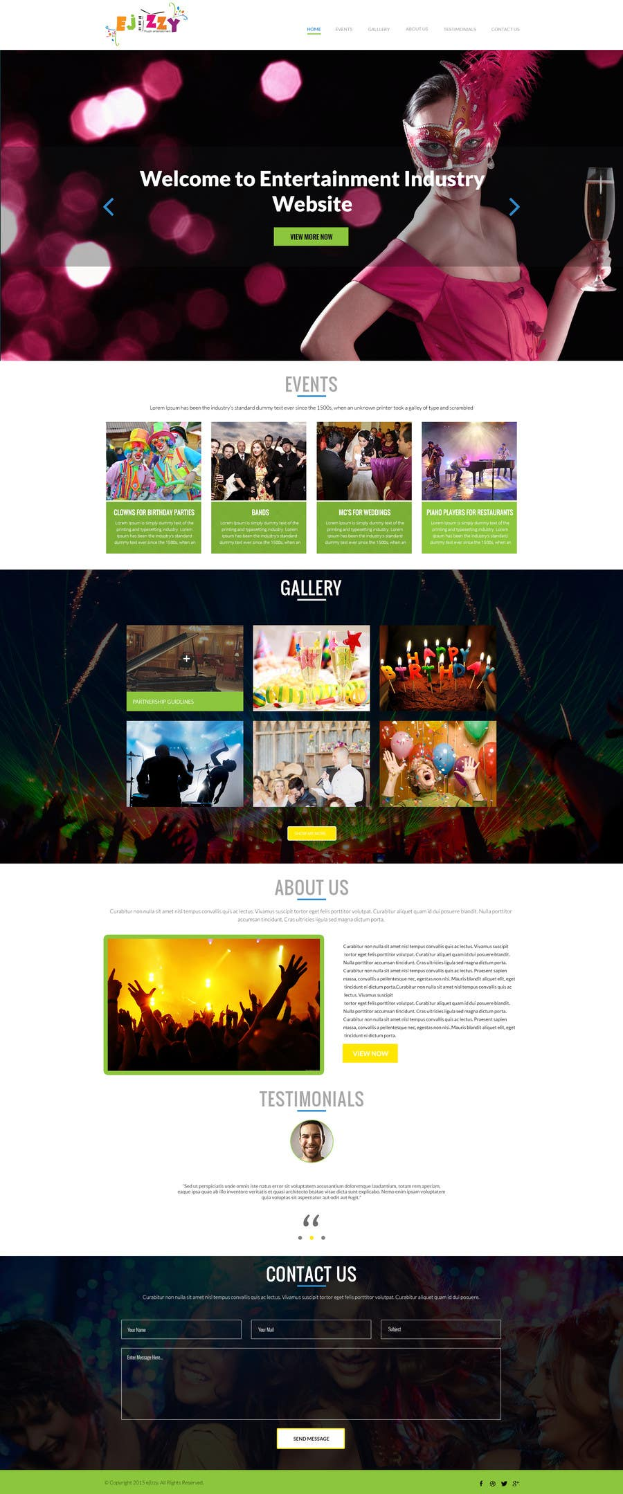 Contest Entry #                                        1                                      for                                         Design a Website Mockup for Entertainment Industry