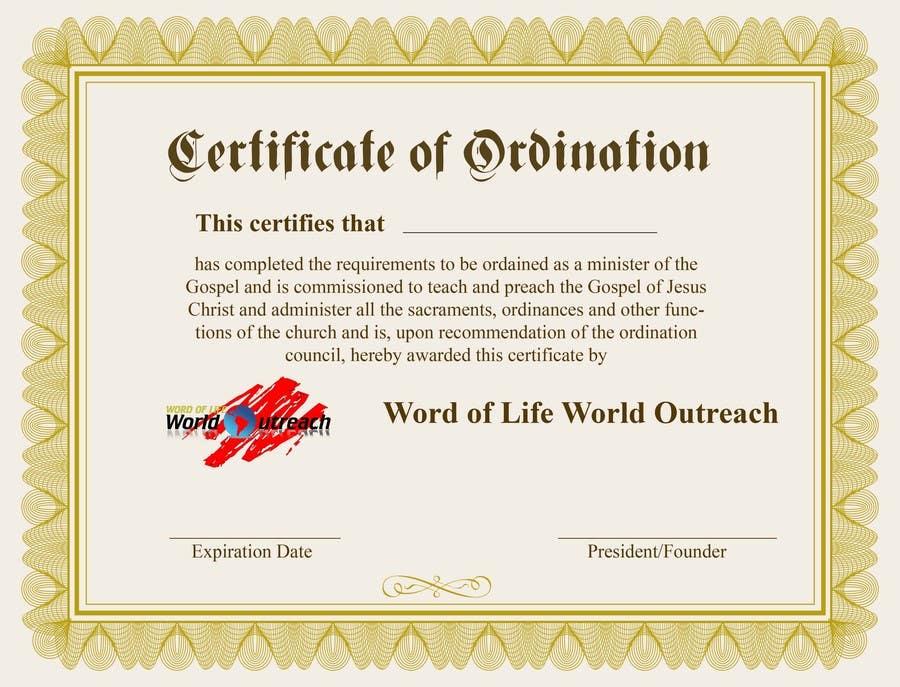 Bài tham dự cuộc thi #23 cho Design a Ordination Cirtifcate