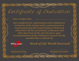 #27 for Design a Ordination Cirtifcate by edesigndori