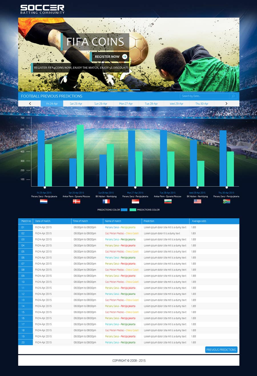 "Contest Entry #3 for Simple website layout for ""Football prediction"""