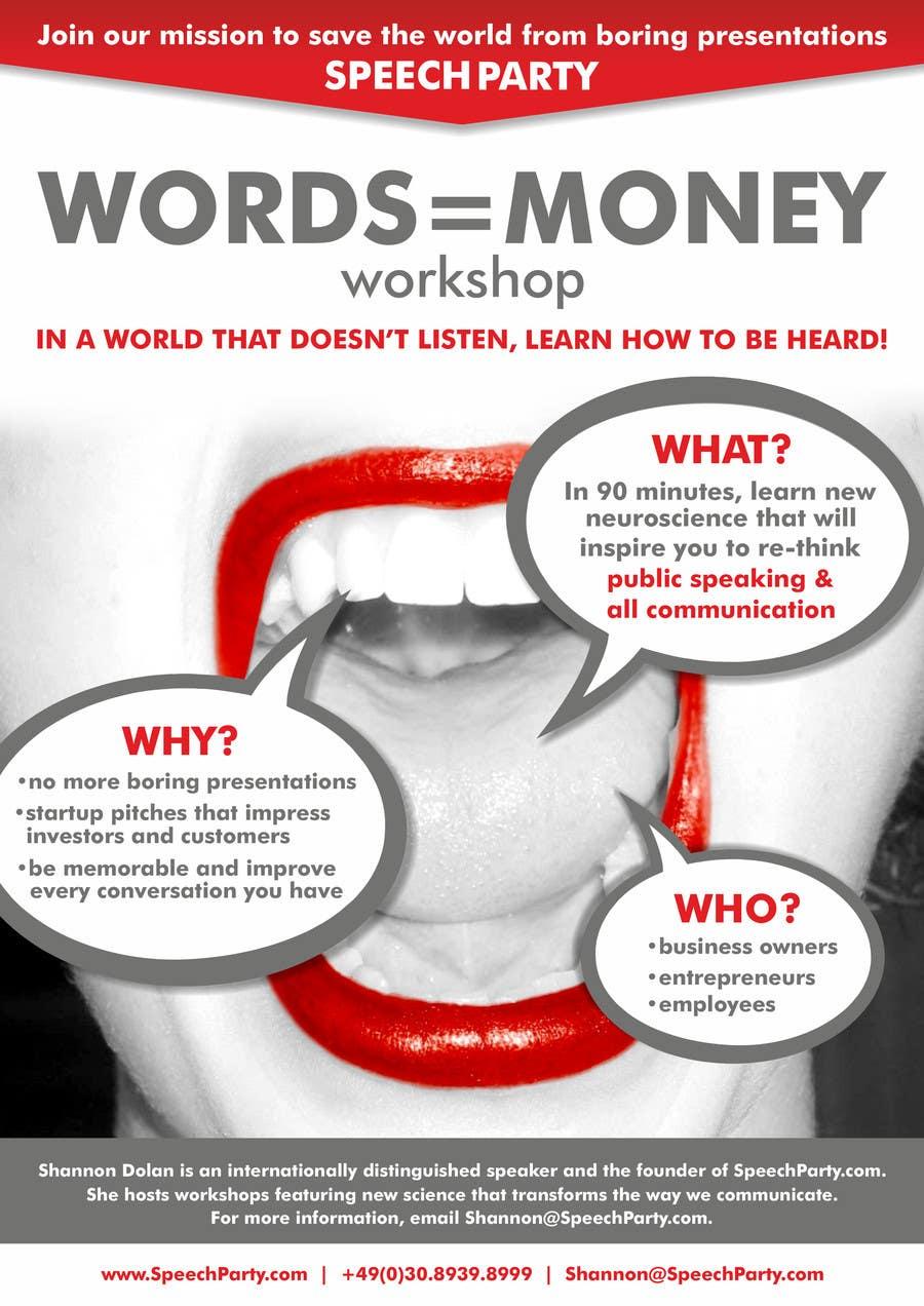 Konkurrenceindlæg #                                        9                                      for                                         Design a Flyer for Our Workshop: Words = Money