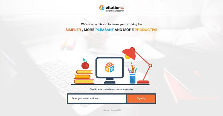 Contest Entry #                                        31                                      for                                         Design a simple landing page for citation.io